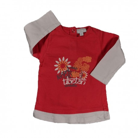 T-shirt rouge manches blanches KIMBALOO 6 Mois